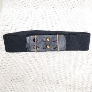 Accessories - Wide Elastic Brass Button Belt